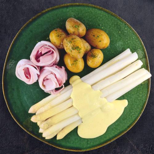 Spargel mit Soß Hollandaise, gekochtem Schinken & Kartoffeldrillingen